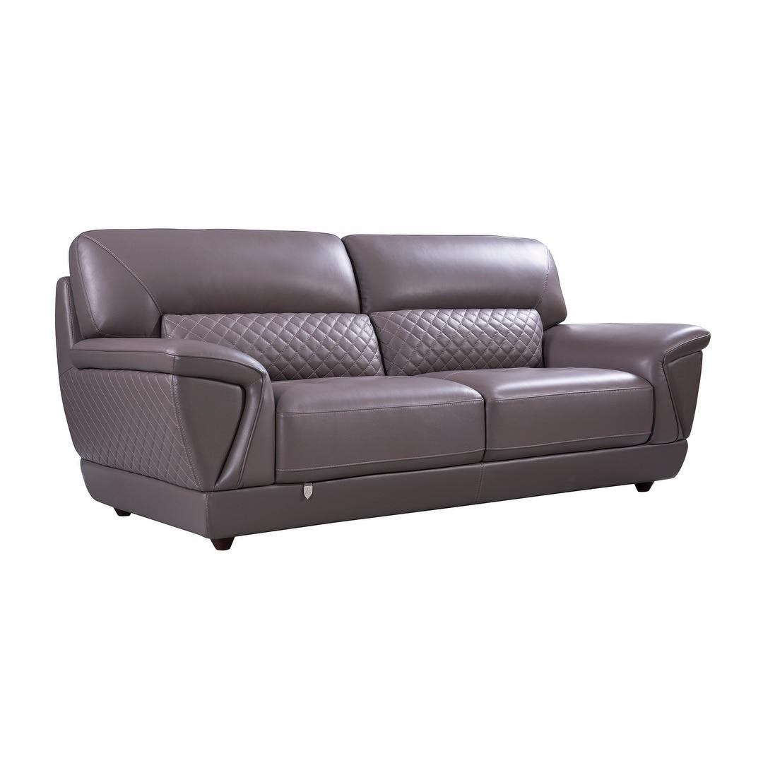 Modern Italian Leather Upholstered Sofa (Off-White)