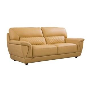 Modern Italian Leather Upholstered Sofa (Sunflower)