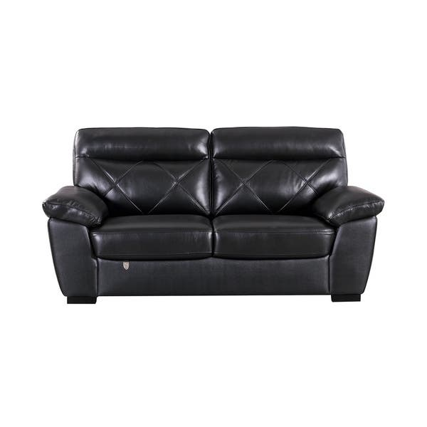 Groovy Modern Pillow Top Black Italian Leather Loveseat Gmtry Best Dining Table And Chair Ideas Images Gmtryco