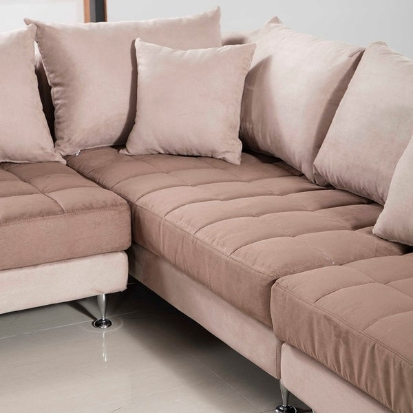 Modern Two Tone Tufted Cushion Brown Microfiber Sectional