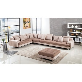 Modern Two Tone Tufted Cushion Brown Microfiber Sectional (Left Facing - Camel)