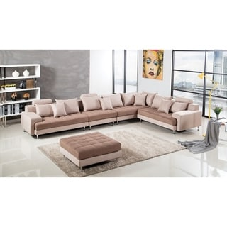 Modern Two Tone Tufted Cushion Brown Microfiber Sectional (Right Facing - Camel)