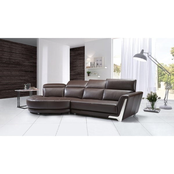 Shop Curved Dark Brown Italian Leather Sectional Free