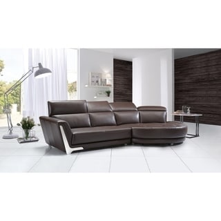 Curved Dark Brown Italian Leather Sectional (Right Facing - Brown)