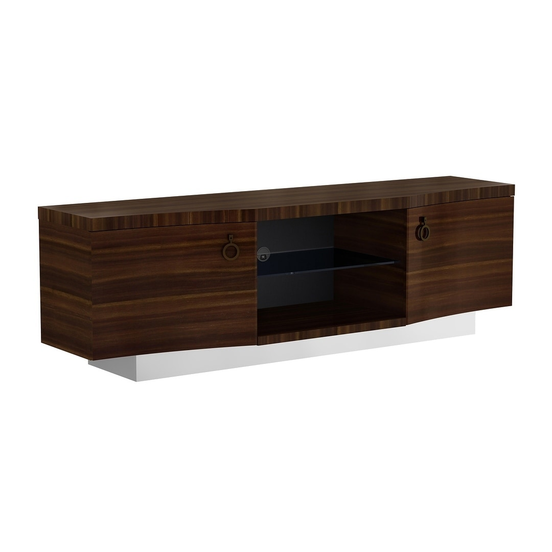 Walnut Finish TV Stand (Brown)