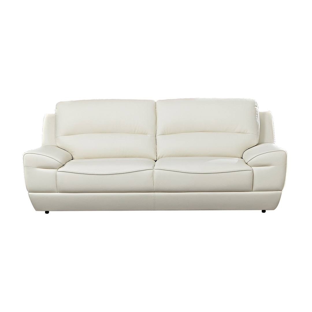 Modern Pillow Top White Italian Leather Sofa
