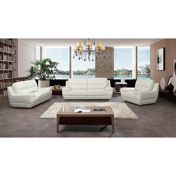 Modern Pillow Top White Italian Leather Sofa