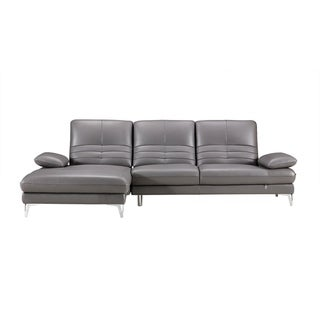 Channel Back Italian Leather Chaise Sectional Sofa (Light Grey - Left Facing)