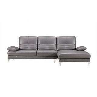 Channel Back Italian Leather Chaise Sectional Sofa (Light Grey - Right Facing)