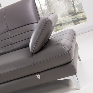 Channel Back Italian Leather Chaise Sectional Sofa