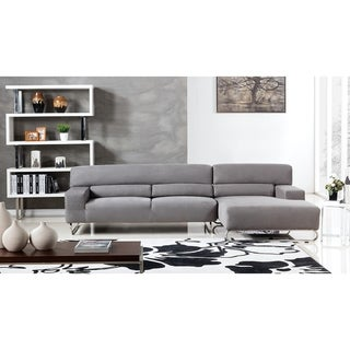 Modern L Shaped Gray Microfiber Sectional (Right Facing)