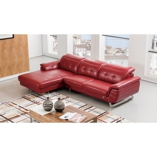 Modern Tufted Adjustable Headrest Italian Leather Sectional (Burgandy - Left Facing)