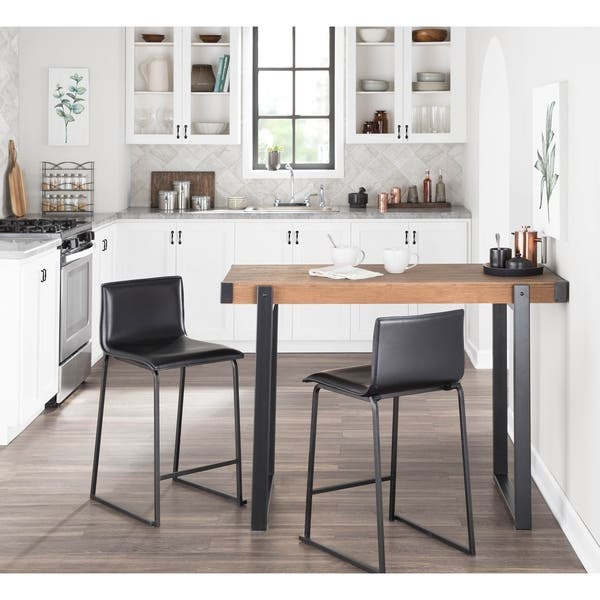 Odessa Industrial Counter Height Dining Table In Metal And Wood By Lumisource Black Brown Overstock 22466499