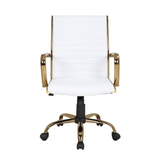 Master Contemporary Faux Leather Office Chair with Gold Metal by LumiSource (White)