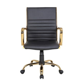 Master Contemporary Faux Leather Office Chair with Gold Metal by LumiSource (Black)