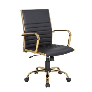 Master Contemporary Faux Leather Office Chair with Gold Metal by LumiSource