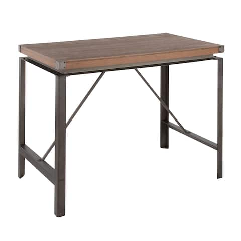 Carbon Loft Hess Industrial Antique/Brown Counter Height Dining Table in Metal and Wood