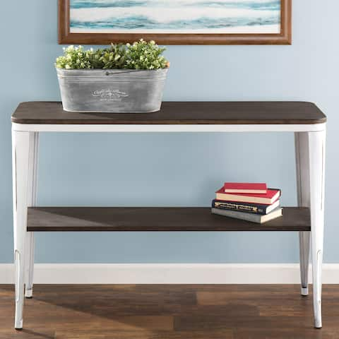 Oregon Industrial Console Table in Metal and Wood by LumiSource