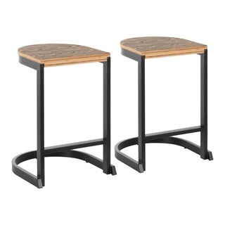 Industrial Demi Counter Stool in Metal and Wood by LumiSource (Set of 2)