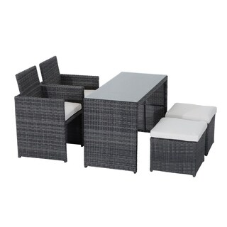 Outsunny 5 Piece Outdoor Rattan Wicker Furniture Set