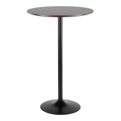 Pebble Mid-Century Modern Adjustable Dining to Bar Table in Metal and Wood by LumiSource
