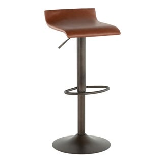 Carbon Loft Hess Industrial Barstool in Antique Metal and Faux Leather (Set of 2) (Brown)