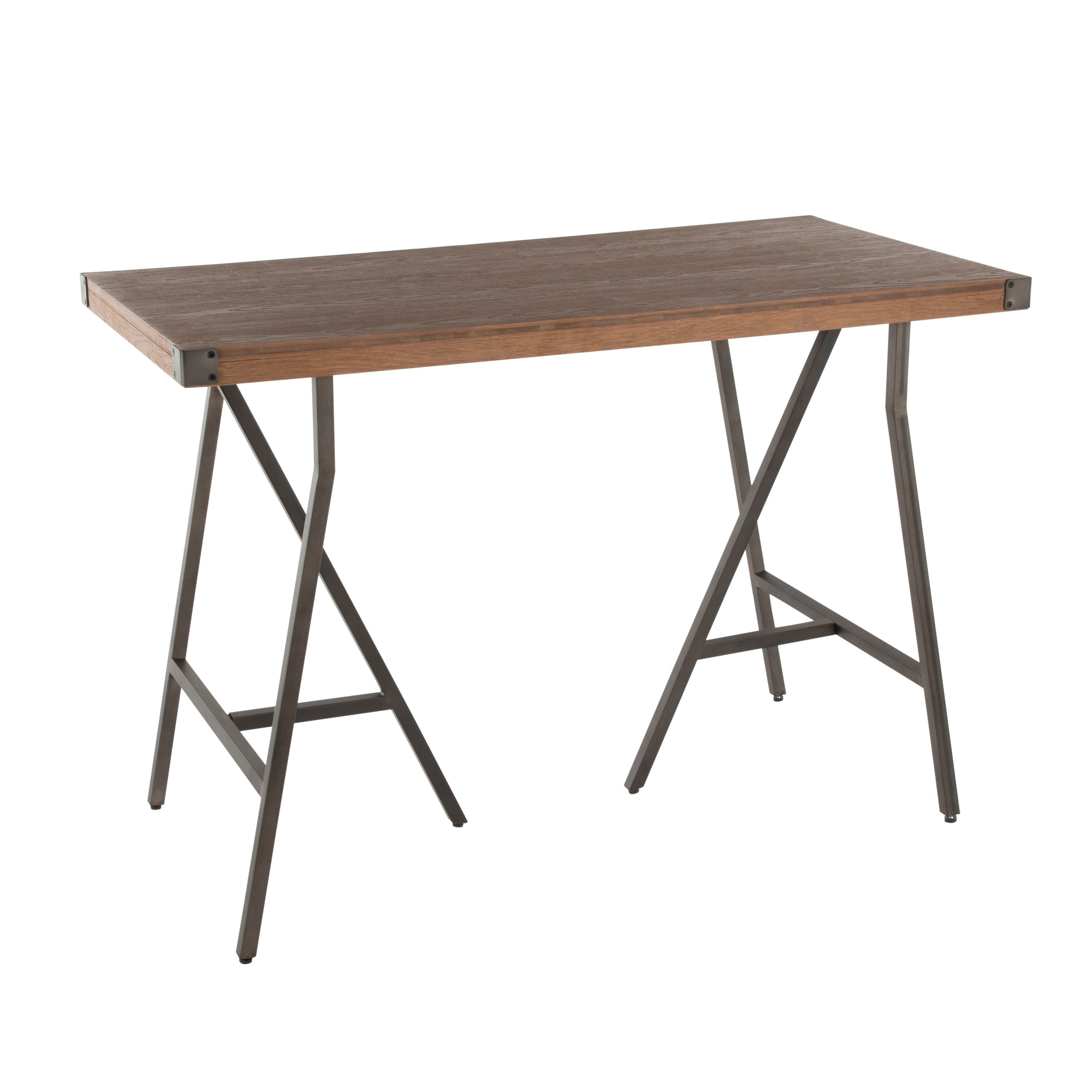 Carbon Loft Patti Industrial Counter Height Dining Table in Antique/Brown Finish