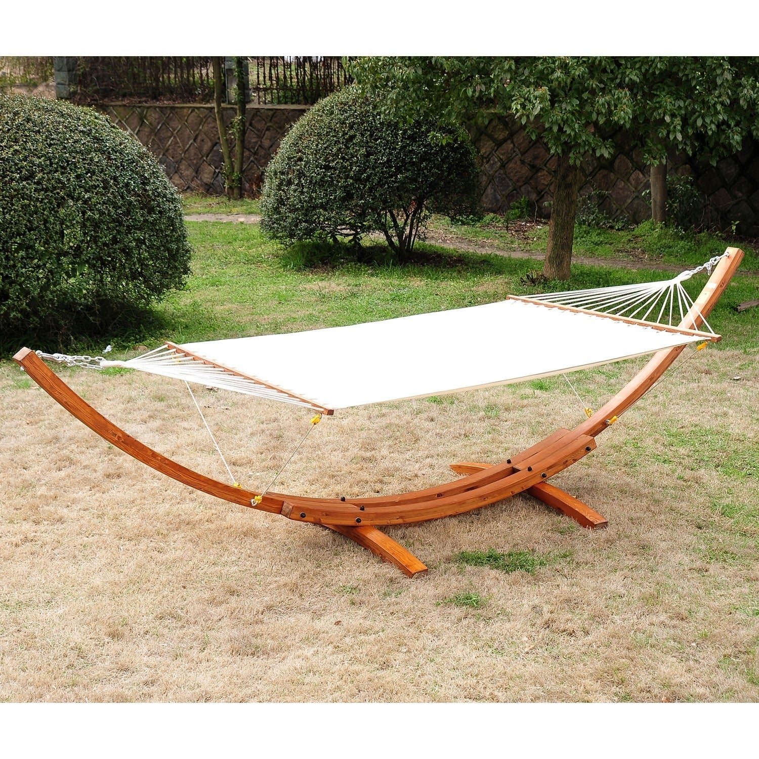 Outsunny Double Wide Wood Arc Outdoor Hammock & Stand Set ...