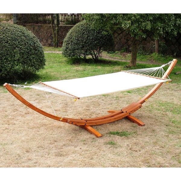 Shop Outsunny Double Wide Wood Arc Outdoor Hammock Stand Set