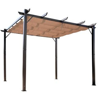 Outsunny 10' x 10' Steel Outdoor Patio Pergola Gazebo Backyard Canopy Cover - Brown