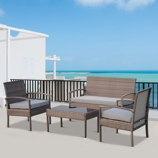Outsunny 4 Piece Outdoor Rattan Wicker Patio Conversation Set - Light Grey