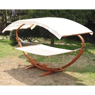 Outsunny 13' Wood Roman Arc Double Outdoor 2 Person Hammock Stand with Canopy
