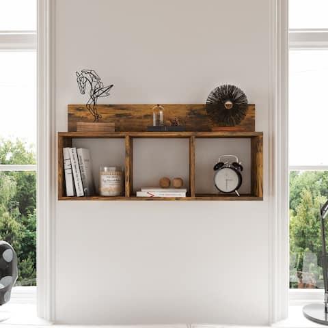 Rustic Triple Cubed Floating Cubbie Shelf - Aged Wood
