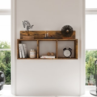 Rustic Triple Cubed Floating Cubbie Shelf  - Aged Wood