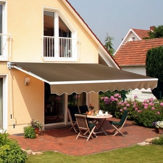 Outsunny 13' X 8' Manual Retractable Sun Shade Patio Awning - Coffee