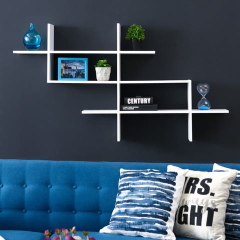 3-Tier Wall Mount Floating Ladder Shelf with Criss Cross Design- White