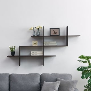 3-Tier Wall Mount Floating Ladder Shelf with Criss Cross Design- Walnt