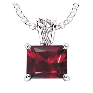 Solid Sterling Silver 3 - 4 Carat Baguette Gemstone Necklace with 17.5 Inch Anchor Chain for Women