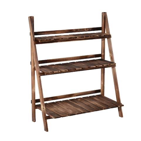 """Outsunny 32"""" x 15"""" Wooden 3-Tier Ladder Plant Stand"""