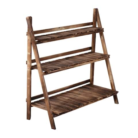 """Havenside Home Ramsey Bay 39"""" x 14"""" Wooden 3-tier Ladder Plant Stand"""
