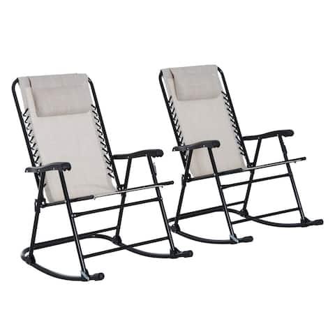 Outsunny Mesh Outdoor Patio Folding 2-Piece Rocking Chair Set with Ergonomic & Folding Design - Cream White