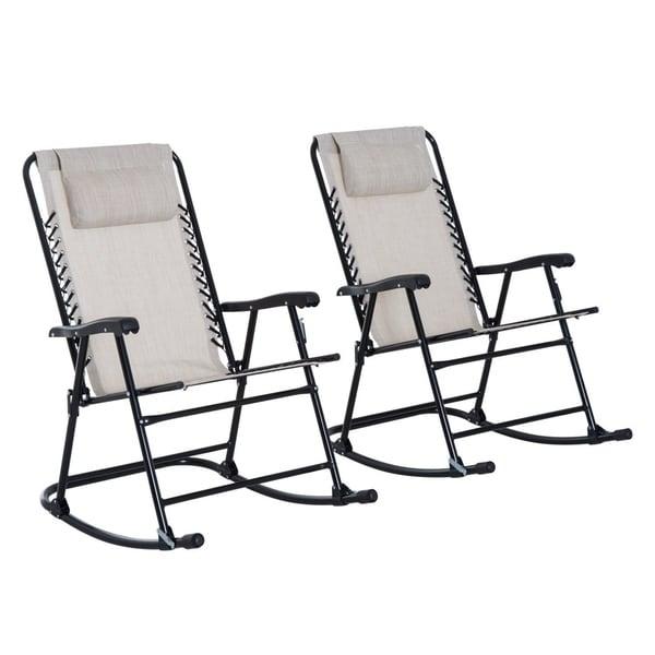 Outsunny Mesh Outdoor Patio Folding Rocking Chair Set   Cream White