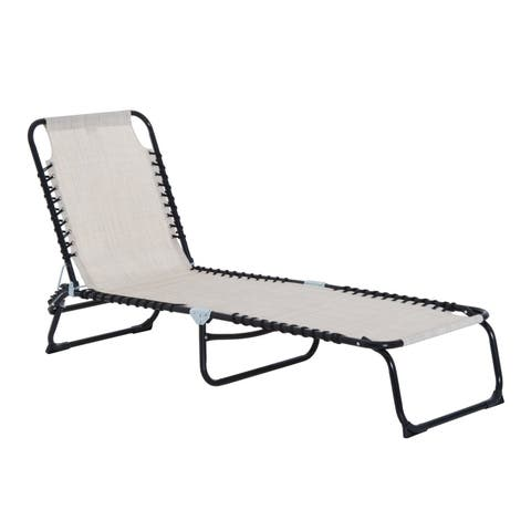 Outsunny 3-Position Portable Reclining Beach Chaise Lounge Folding Chair Outdoor Patio - Cream White