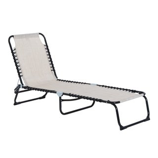 Link to Outsunny 3-Position Reclining Beach Chair Chaise Lounge Folding Chair with Comfort Ergonomic Design, White Similar Items in Patio Furniture