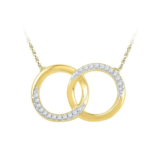 9b3faab1e 10kt Yellow Gold Womens Round Diamond Interlocking Double Circle Pendant  Necklace 1/10 Cttw