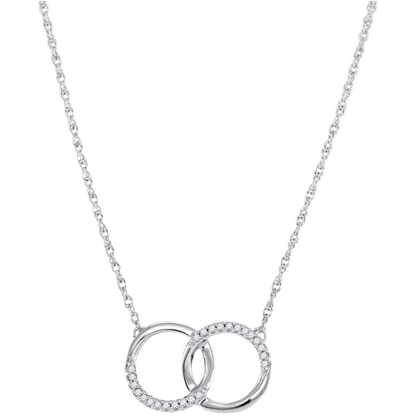 a7544a546 10kt White Gold Womens Round Diamond Interlocking Double Circle Pendant  Necklace 1/10 Cttw