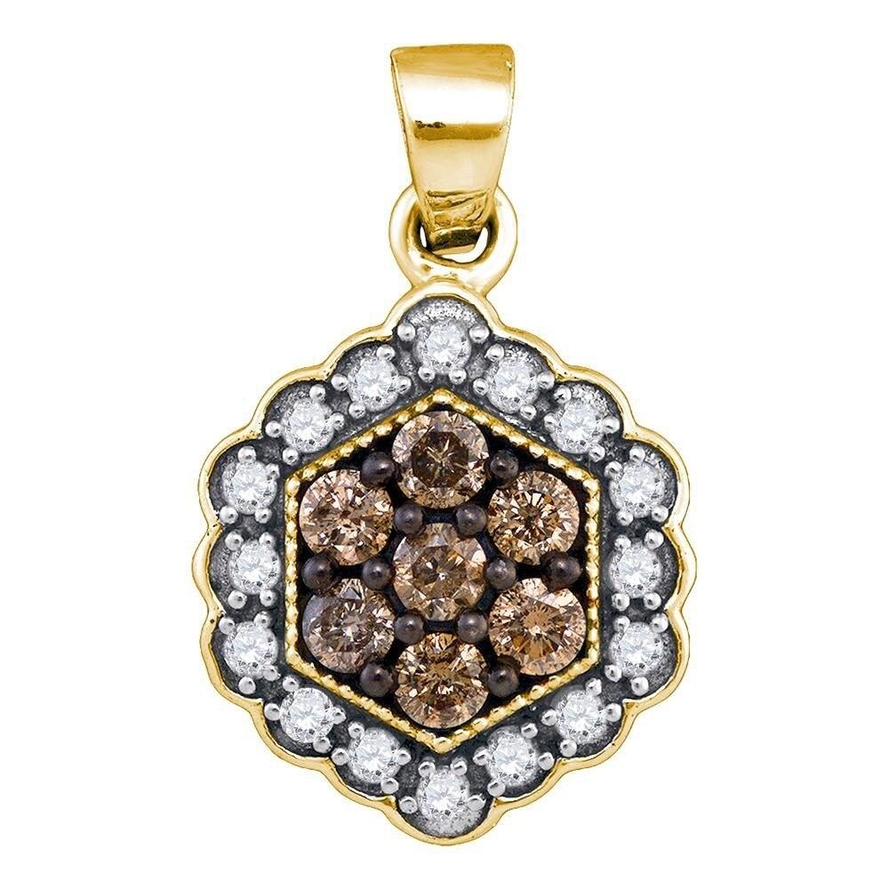 10k Rose Gold Brown Diamond Flower Cluster Pendant 3//8 ct
