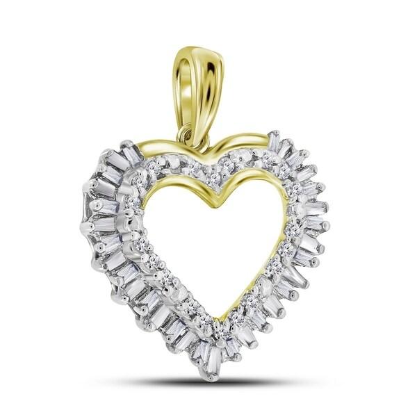 Shop 14kt Yellow Gold Womens Round Baguette Diamond Heart Frame ...