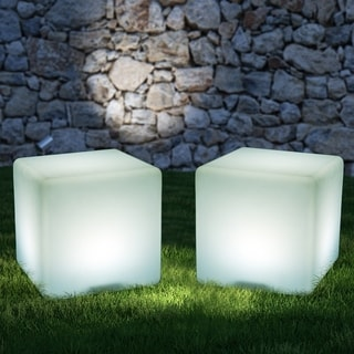 """HomCom 16"""" RGB Adjustable Color Changing Cube Chair, Waterproof Rechargeable With Remote Control - 16 Inch"""