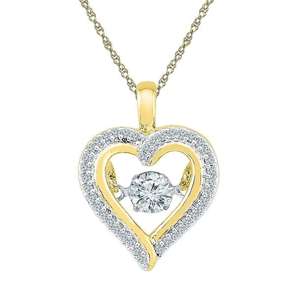 ef4c2be41 10kt Yellow Gold Womens Round Moving Twinkle Diamond Heart Outline Pendant  1/4 Cttw